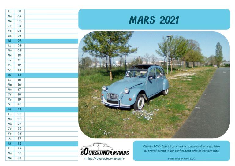 calendrier mars 2021