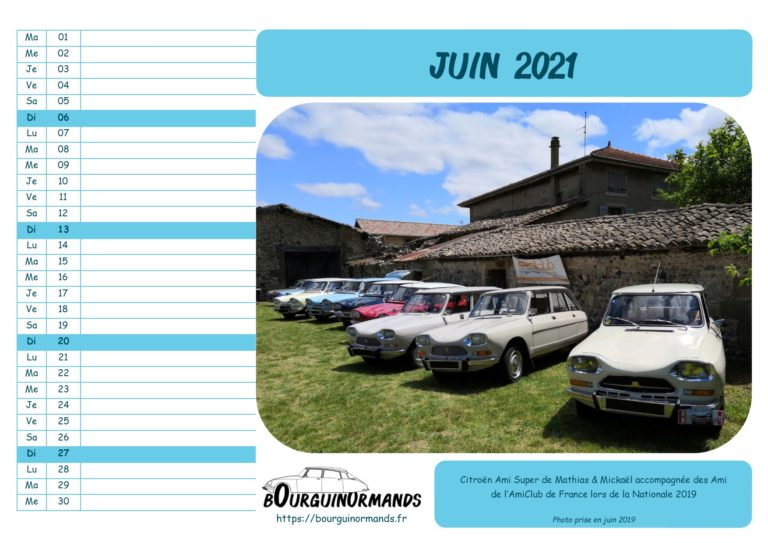 calendrier juin 2021