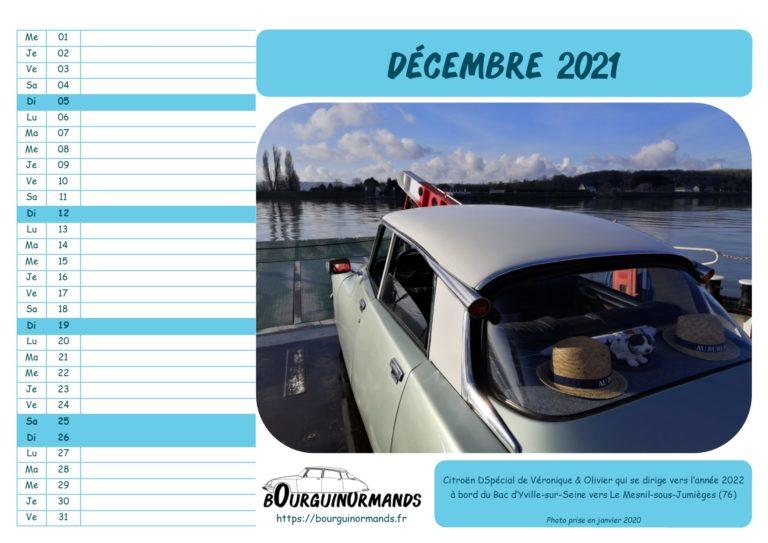 calendrier décembre 2021